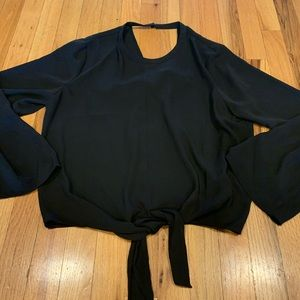 Madwell black lg sleeve silk shirt size L
